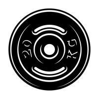 Zwart-wit afbeelding van een barbell-schijf