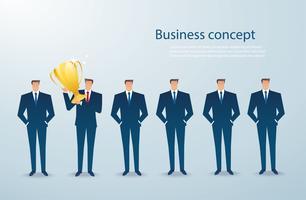 zakenman houdt de gouden trofee succesvolle winnaar. bedrijfs concept vector
