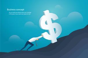 man duwt de grote dollar naar succes