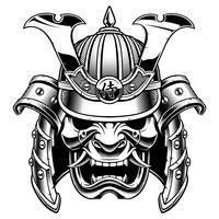 Samurai krijger masker (zwart-wit versie) vector