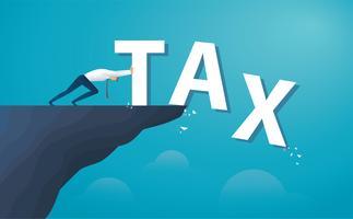 zakenman duwt het woord belasting vanaf de top van de heuvel.