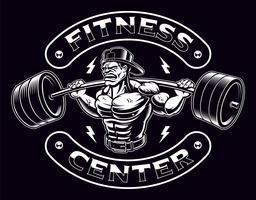 Zwart-wit afbeelding van een bodybuilder met barbell