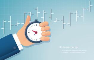 hand met een chronometer timer tijd management achtergrond