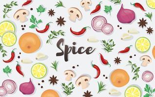 spice en plantaardige voedingsmiddelen achtergrond vector