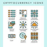 Cryptocurrency pictogrammen concept illustraties