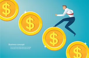 zakenman die op gouden muntstukken aan succes loopt vector