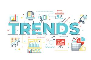 Trends woord belettering illustratie