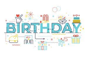 Verjaardag woord belettering illustratie