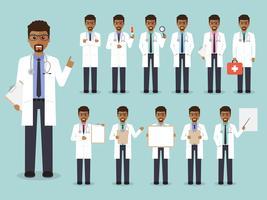 Set van Afrikaanse arts, medisch personeel. vector