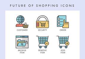 Toekomst van winkelen pictogrammen vector