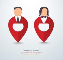 stripfiguur icoon van mensen op pin pictogram locatie symbool logo vectorillustratie vector