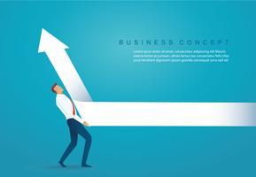 zakenman lift de pijl omhoog bedrijfsconcept vectorillustratie