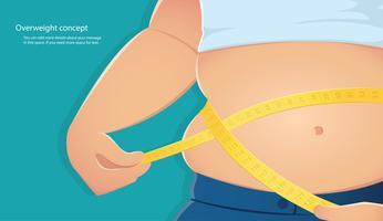 overgewicht, dikke persoon gebruik schaal om zijn taille te meten met een blauwe achtergrond