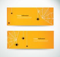stel halloween spider en wab voor website headers banner ontwerpen vector