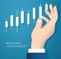 hand met een kandelaar grafiek aandelenmarkt pictogram vector achtergrond