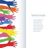 vrijwilligersconcept, vrije handenstijging banner omhoog vectorillustratie als achtergrond