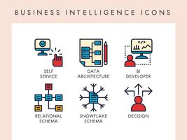 Business intelligence-pictogrammen vector