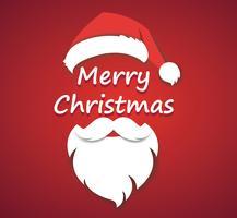 Vrolijk kerstfeest vector concept rood met kerstmuts en santa witte baard