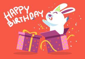 gelukkige verjaardag dierlijk wit konijn vector