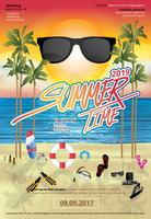 Zomer en vakantie tijd reizen Poster ontwerp sjabloon vectorillustratie