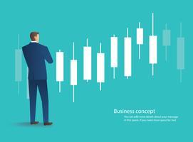 zakenman die zich met de achtergrond van de kandelaargrafiek, concept effectenbeurs, vectorillustratie bevinden