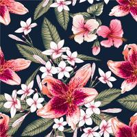 Naadloze bloemmotief roze pastel kleuren Hibiscus, Frangipaniand Lilly bloemen op geïsoleerde donkerblauwe achtergrond. Vector illustratie aquarel hand getrokken doodle.