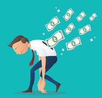 depressieve zakenman met geld rekeningen. bedrijfsconcept vectorillustratie