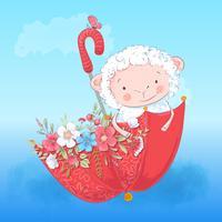 Paraplu en bloemen van het poster de leuke lam. Vector illustratie. Cartoon stijl