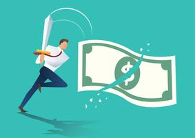 zakenman houdt zwaard en snijdt geld rekening. bedrijfsconcept vectorillustratie vector