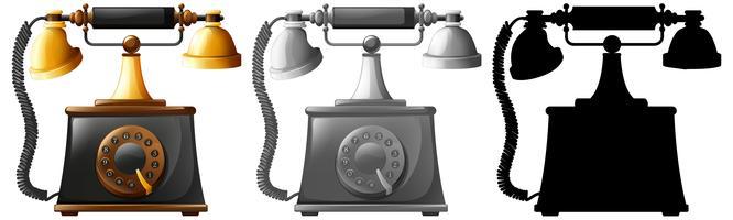 Set van ouderwetse telefoons