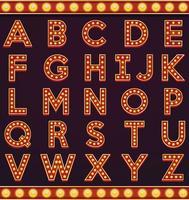 Brief alfabet teken selectiekader gloeilamp vintage carnaval of circus stijl vector