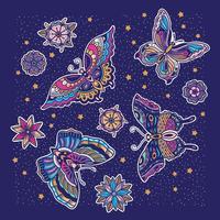 Vlinderpatroon met blauwe achtergrond vector