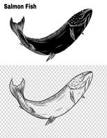 Vis vector met de hand tekening