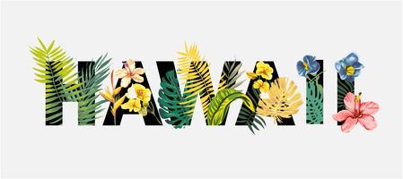 Hawaï sloagn met tropische bloemen en exotische boomillustratie vector