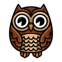 Cute Cartoon Owl Bird met grote ogen in zithouding