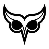 Owl Bird-embleem met Grote Ogen en Wenkbrauwen in Zwarte vector