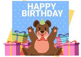 gelukkige verjaardag dierlijke beer vector