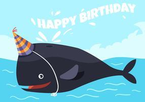 gelukkige verjaardag dierlijke walvis vector