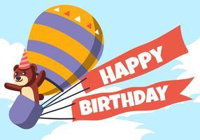 Happy Birthday Animal en hete luchtballon vector