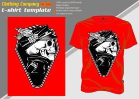 t-shirt sjabloon met schedel kapitein, hand tekening vector