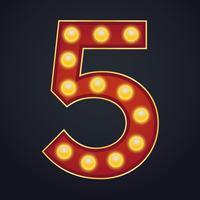 Letter nummer vijf alfabettekst selectiekader gloeilamp vintage