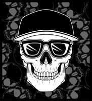 schedel pet draagt een bril vector