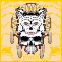 wolf met schedel hand tekening vector