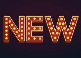 Nieuwe banner alfabet teken selectiekader gloeilamp vintage