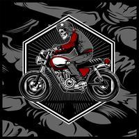 schedel die een helm draagt die een oude motorfiets berijdt, vector