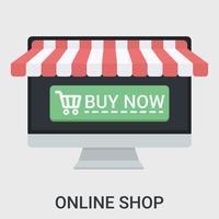 Online winkel in een plat ontwerp