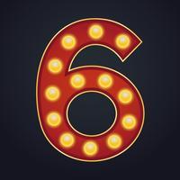 Letter nummer zes alfabet teken selectiekader gloeilamp vinta