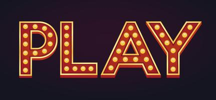Speel banner alfabet teken marquee gloeilamp vintage