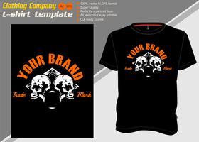 t-shirt sjabloon met twee schedels, hand tekenen vector