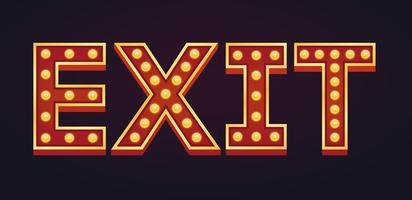 EXIT banner alfabet teken marquee gloeilamp vintage vector